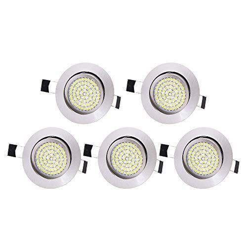 5 x Lu-Mi LED Einbaustrahler Flach 230V - Deckenspots Ultra Flach Einbaustrahler / 350 Lumen / 230V / 3,5W / Licht: Kaltweiss 6000K / Gehäuse Rund (Edelstahl gebürsted) -
