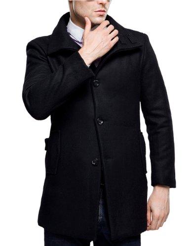 SSLR Herren Wollmantel Übergangsmantel Slim Fit Lang Wolle Mäntel Wintermantel mit Stehkragen Einreiher Wool Coat Business Freizeit (X-Large, Schwarz)