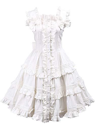 Kostüm Frauen Puppe - Antaina Weiß Baumwolle Rüsche Flieges Spitze Retro süß viktorianisch Knielang Elegant Lolita Cosplay Kleid,XL