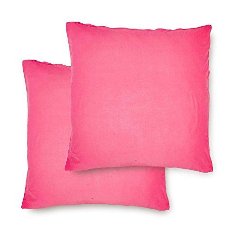 Lumaland Comfort Jersey Kissenbezug 2er Set aus 100% Baumwolle 160 g/m² mit YKK Reißverschluss 50 x 50 cm Pink