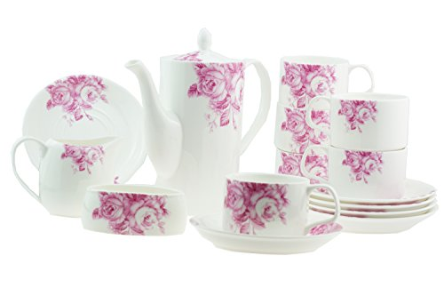 15Stück Luxus Bone China Pink Garden Rose Australian Style Tee/Kaffee-Set für 6Personen Rose Garden Bone China