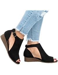 2dfdd18fc4b6 Sandales de Femmes Bohême Élégant Chaussure Été Bout Ouvert Sandale Givré  Talon Compensé Plateforme Sandale Plage Sandales Romaines…