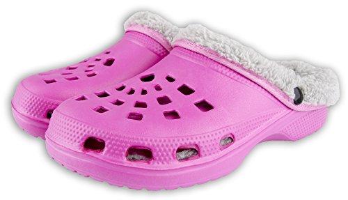 Winterclogs Gr.36-45 Clogs Unisex - Gefüttert Hausschuhe Gartenschuhe Schuhe – Verschiedene Farben (38, Pink-Grau) (Clogs Gefütterte)