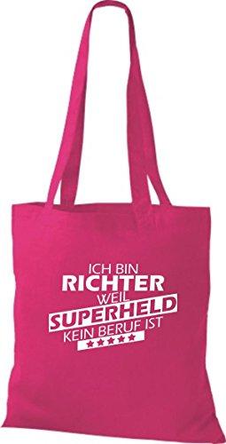 Shirtstown Stoffbeutel Ich bin Richter, weil Superheld kein Beruf ist pink