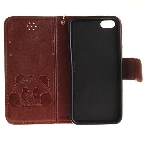 Ooboom® iPhone 5SE Custodia Rilievo Panda Magnetica Flip in Pelle PU Cuoio Libro Copertura Case Cover Portafoglio Supporto per iPhone 5SE - Nero Caffè