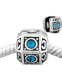 Andante-Stones, tope de cuentas tipo clip en plata con circonitas (cian) para pulseras de abalorios y bolsita de organza