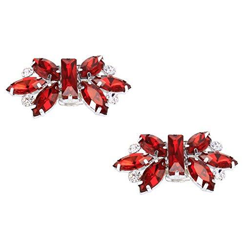 Santfe - clip decorative in cristallo brillante per scarpe, ideali per scarpe da sposa o come accessori per borse e abiti rosso red