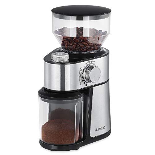 Kaffeemühle, [Geschenke für den Vater] HAMSWAN 200W Elektronische Saatgutmühle aus Edelstahl mit Flachbohrer für Saatgut und Gewürze, 18-Gang-, Trichter- und herausnehmbarer Bohnenbehälter