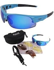 Edge Blau Sport Sonnenbrille UV400 mit polarisierten Wechselgläsern