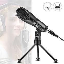 Micrófono de Condensador con Dual Chips, USB Cable de Audio, Plug&Play, Soporte de Trípode para Ordenador, Portáti, YouTuber, o Podcast, Negro