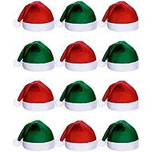 9065b495ccfd1 SATINIOR 12 Piezas de Sombrero de Papá Noel Gorra de Tela No Tejida de Navidad  para