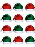 SATINIOR 12 Pezzi Santa Cappelli Natale Tessuto Non Tessuto Cappello per Vacanze Natale (Verde And Rosso)