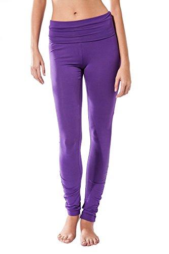 Pantalon Fitness para mujer, Dhana de Sternitz, ideal para hacer pilates, yoga y cualquier deporte, tela de bambú, ecológica y suave. Pantalón largo pegado. Muy Cómodo. (L, Morado)