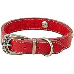 """Rantow Los collares del estilo de Roma de cuero para perros, gatos 11,4 """"a 14,6"""" y 2 cm de ancho, arnés de cuero ajustable para Perros (rojo)"""