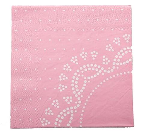 20 Elegante Papier-Servietten mit Weißem Spitzen-Perlen-Muster in