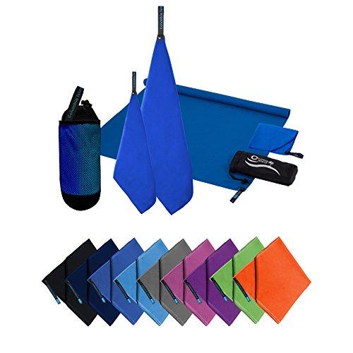 Microfaser Handtücher | 70x140cm + 30x50cm | Mikrofaser Handtuch schnelltrocknend Badehandtuch Reisehandtuch für Camping & Outdoor | Badetuch | Sport-Handtuch 2er Set Dark Blue inkl. Tragetasche
