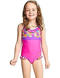 Zoggs Bañador para niñas starcheck volante V cuello, niña, Starcheck Frill V, Pink/Multi-Colour, 22