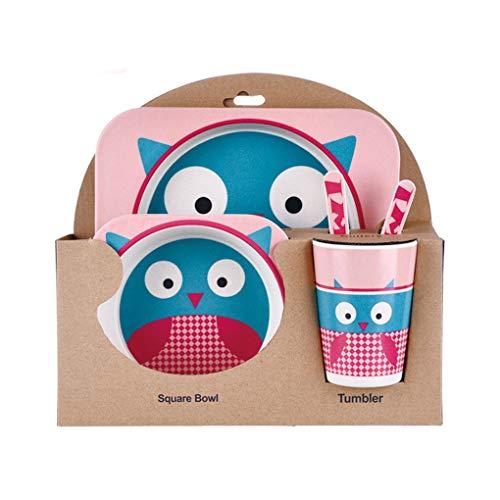 FloralLive Kinder-Geschirr-Set 5er Baby-Bambusfaser-Cartoon Bowl Tier Geschirr Set Kleinkind-Cup-Löffel-Gabel