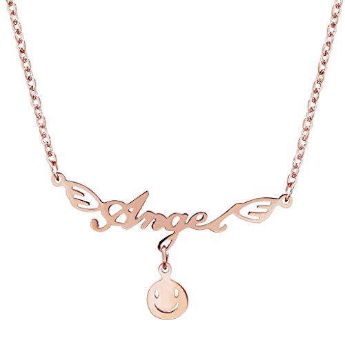 AnaZoz Bijoux de mode collier pendentif de femmes acier inoxydable smiley ronde collier pendentif pour femme Or rose