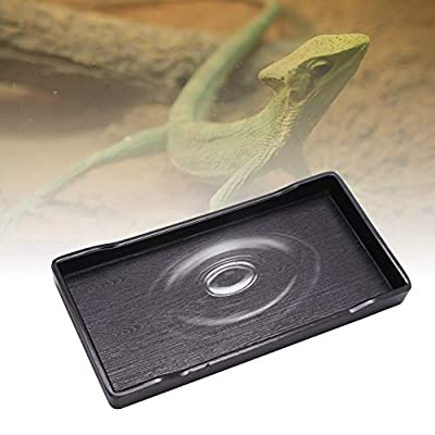 Sheens Reptile Feeder, Anti-Slip Reptile Food and Water Dish Bowl Plastic Rectangle Pets Feeding Plate for Tortoise Lizard Chameleon Iguana from Sheens