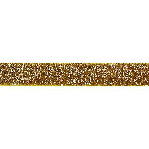 YYCRAFT elastisches Glitzer-Band für Haarbänder, 4,5 m, gold, 1 cm (3/8
