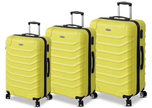 ORMI Set 3 Trolley Con 8 RUOTE Autonome in ABS Rigido Con Bagaglio a Mano Mod.: 2026 (Giallo)