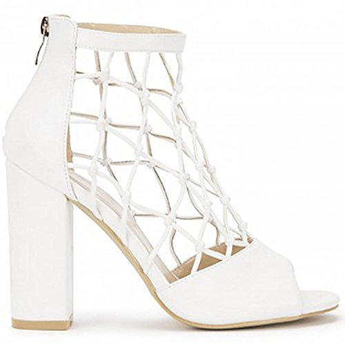 Pu Blanc Avec Cage Découpez Cheville Sandales Lanières Haut Peep Toes Chaussures à Talons Hauts Talons Bloc Blanc