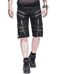 d6ecd08739 Lannister Fashion Moda Gótica Hombre Pantalones Cortos De Cortos Pantalones  Carga Negros Ropa Festiva Steam Punk