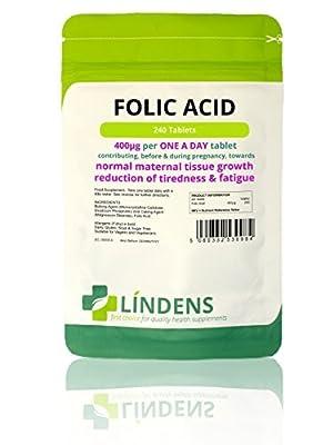 Lindens Folic Acid 400mcg x 240 Tablets