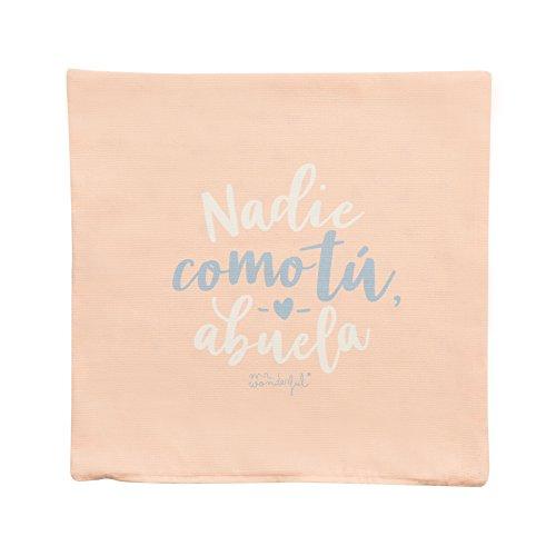 """Mr; Wonderful Woa08957Es Funda De Cojín """"Nadie Como Tú, Abuela"""", Multicolor, 19.5X19.5X0.5 Cm"""