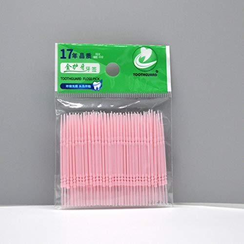 Jiobapiongxin USA und Getta Doppelschnur aus Kunststoff Zahnseide Zahnstocher, Sano zur Reinigung der Zahnzwischenräume (Rosa) JBP-X Descrizione di riferimento 100 Pezzi Rosa