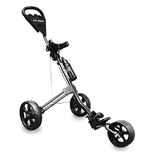 LONGRIDGE GOLF CARTS/TROLLEYS TRI CART 3 WHEEL DELUXE TROLLEY, BLACK