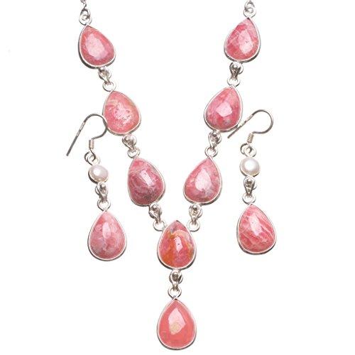 stargems (TM) Natural Rhodochrosit und River Pearl handgefertigt Boho 925Sterling Silber Schmuck-Set, Ohrringe: 13/10,2cm Halskette: 181/5,1cm