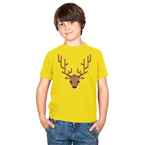 TEXLAB - Simple Stag - Kinder T-Shirt, Größe S, gelb (Firefox Mädchen Kostüm)