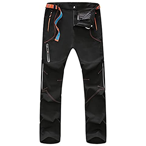 WALK-LEADER Mens Outdoor Windproof Hiking Mountain Climbing Pants/Trousers Black (One Button Wool Blazer)