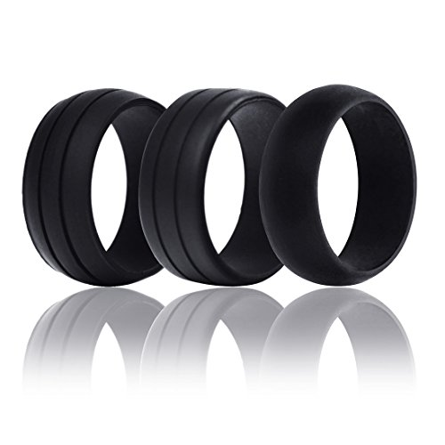 JET-BOND UFS10 Silicone Wedding Ring Band Designs for Comfort Fitness Exercise Active Men Pack of 3 (Size S)