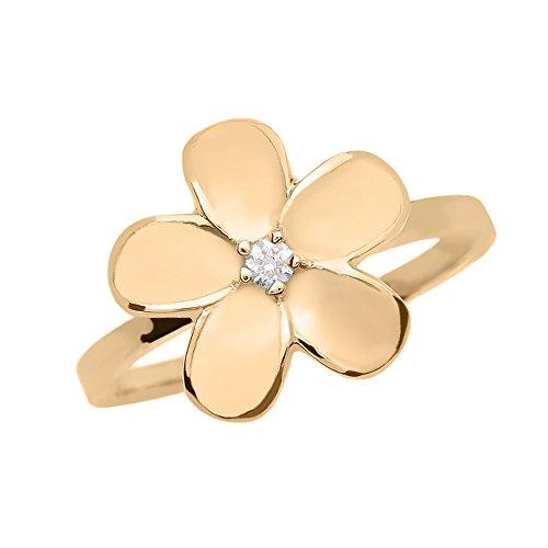Plumeria-ring (Damen Ring 14 Karat Gelbgold Diamant Plumeria Blume Ring)