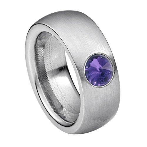 Heideman Ring Damen Coma 8 aus Edelstahl Silber farbend matt Damenring für Frauen mit Swarovski Stein Kristall Tanzanite lila im Fantasie Edelsteinschliff 6mm
