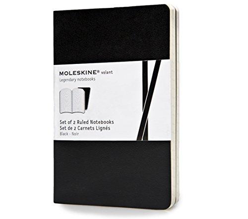 Moleskine Volant Notizhefte (liniert, Weicher Einband) 2er-Set schwarz (Moleskine 2er-set)