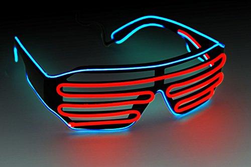 Preisvergleich Produktbild Soundaktive Leuchtbrille LED Brille EL-Partybrille DJ-Brille Jalousie Brille ©Ucult (Blau / Rot)