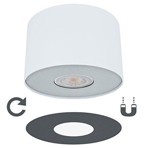 LED Decken Aufbauspot weiß mit wechselbarer Lampen Abdeckung (Silber/Graphit) inkl. LED...