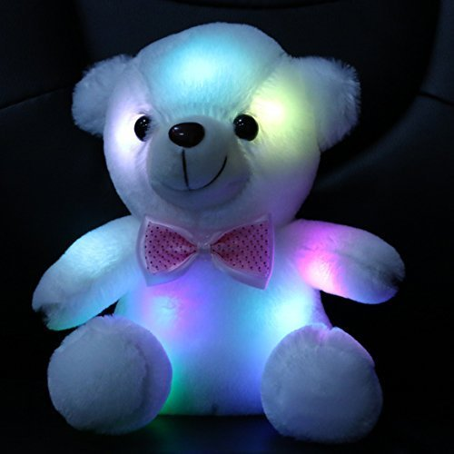 WEWILL  Brand Colorful Night Light LED Glow Luminous Teddy Bear Stuffed Animals for Children Christmas Birthday Gift Valentines, Soft Toy, 8-Inch/ 20CM
