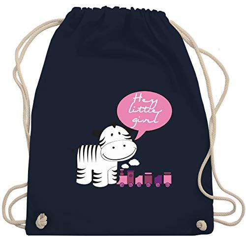 Tiermotive Kind - Hey little girl Zebra Zug - Unisize - Navy Blau - WM110 - Turnbeutel & Gym Bag -