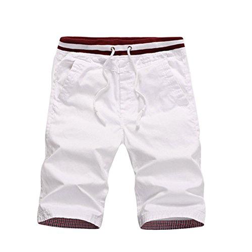 Haodasi Men's Cotton Straight Slim Fit Casual Trousers Beach Shorts Strand Shorts Soft Elastic Pants Elastische Hosen Color White Asian Size M
