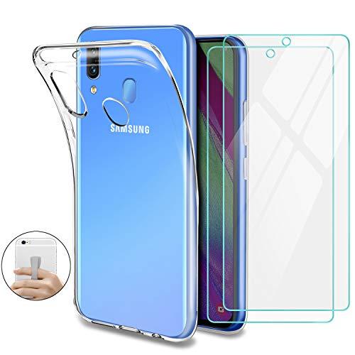 Younme Cover Samsung Galaxy A40 Custodia, Trasparente Custodia Sottile Silicone Gel TPU Case + Pellicola Protettiva in Vetro Temperato [con Antiscivolo Mano Cinturino] per Samsung Galaxy A40