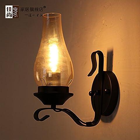 BBSLT Muralla China dormitorio creativo lámpara de noche viento industriales retro americano solo forja pared pasillo escaleras lámpara 200 * 280 m
