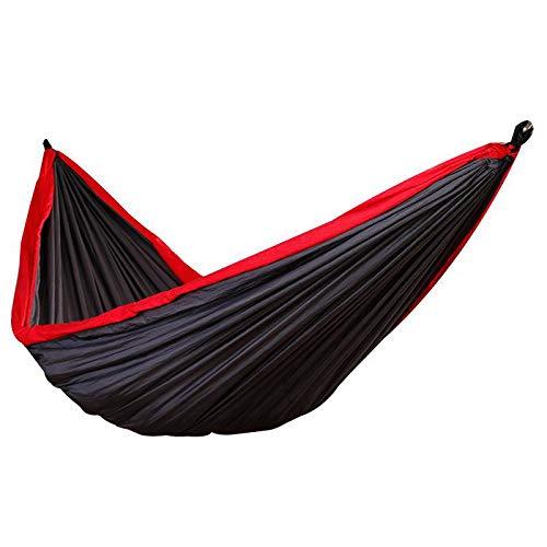Jun7L Camping-Hängematte - Leichte tragbare Nylon-Hängematte, Beste Fallschirm-Doppelhängematte für Rucksackreisen, Camping, Reisen, Strand, Schwarz 270x140cm