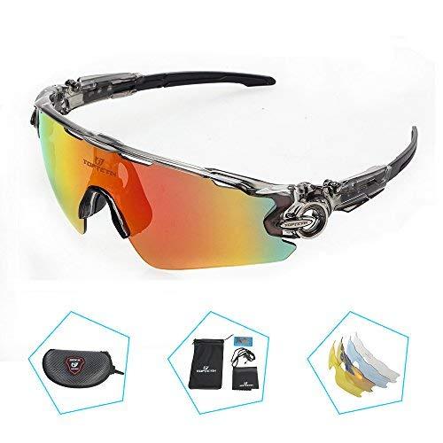Da sole polarizzati occhiali da equitazione con 5 lenti intercambiabili per lo sci da golf e il baseball da pesc …(grigio)