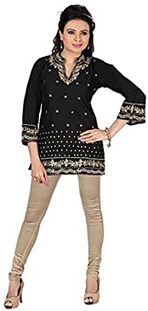 Indian Cotton Tunics Kurti Top Kurta Womens India Apparel (Black, XXXL)