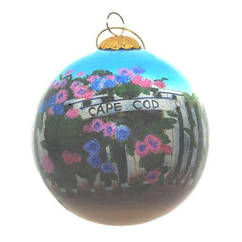 Handbemalt Glas Weihnachten Ornament-Hortensie Cape Cod Zaun -